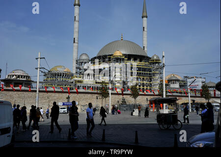 Construction of new mosque in Taksim Square, Istanbul, Turkey - Stock Photo