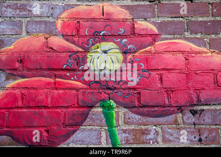 BREVARD, NC (USA) - May 25, 2019:  A wall mural of flowers on display in downtown Brevard, a popular destination for tourists in North Carolina. - Stock Photo