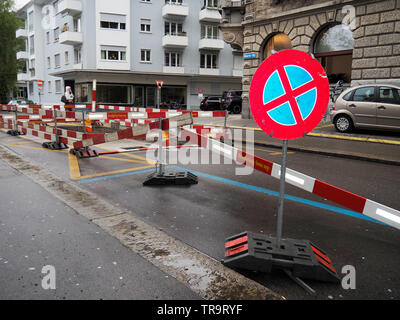 Baustelle auf der Minervastrasse in Zürich, Schweiz - Stock Photo