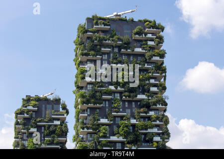 "Milan, Italy – June 04, 2017:   ""Bosco Verticale"" (Vertical Wood) in Porta Nuova district, near Garibaldi railway station in Milan. Bosco Vericale are - Stock Photo"