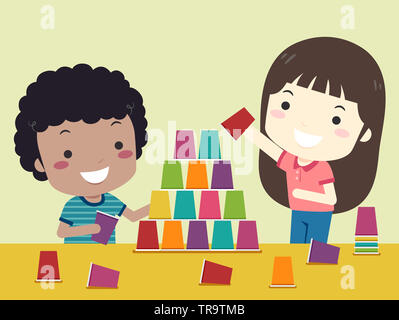 Illustration of Kids Playing with Plastic Cups By Stacking Them Up - Stock Photo
