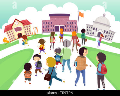 Illustration of Stickman Kids and Teens From All Levels Walking to School - Stock Photo