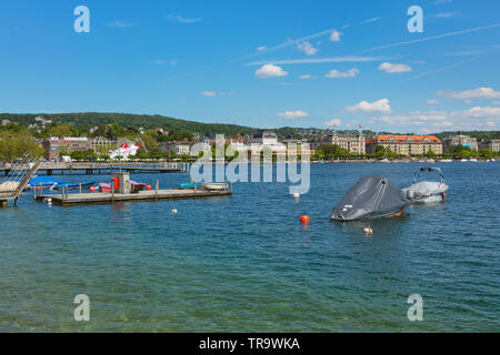Zurich, Switzerland - May 31, 2019: Lake Zurich, view from the city of Zurich. Lake Zurich is a lake in Switzerland, extending southeast of the city o - Stock Photo