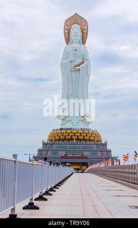 China, Sanya NOVEMBER 13, 2017: The statue of the goddess Guanyin in the center of Buddhism Nanshan. Historical sites of China - Stock Photo