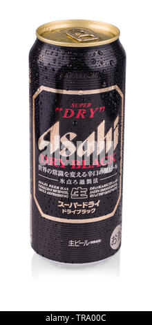 KAMCHATKA, RUSSIA - OCTOBER 13, 2017: Asahi can Super Dry Beer on white. Asahi was founded in Osaka,Asahi is Japan - Stock Photo