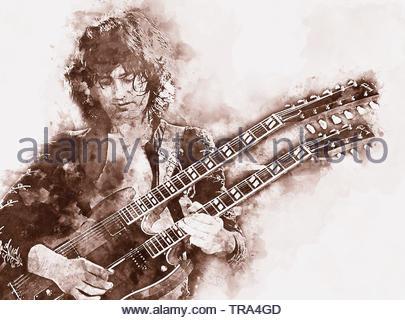Jimmy Page Artwork - Stock Photo