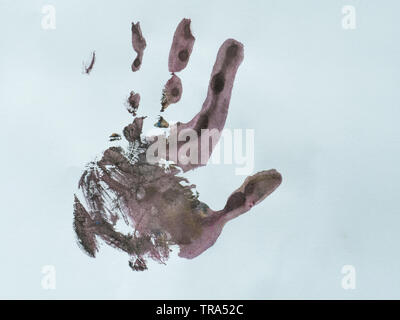 Two Hand color in white paper background, - Stock Photo