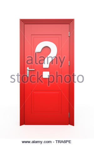 Closed Red Door with question mark, Isolated on white , 3d render - Stock Photo