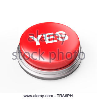 Yes Button , Isolated on white , 3d render - Stock Photo