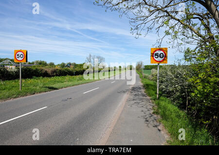50 mph speed limit signs - Stock Photo