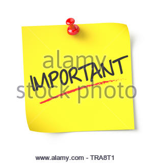 Important , yellow note paper , isolated , 3d render - Stock Photo
