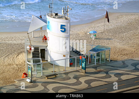 One of Many Lifeguard Stations on Copacabana Beach in Rio de Janeiro, Brazil, South America - Stock Photo