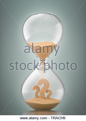 Question Marks, Hourglass, Uncertainty - Stock Photo