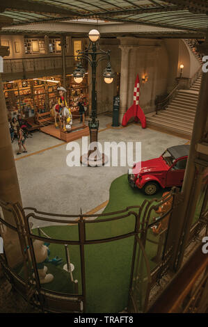 Main hall of the Comics Art Museum in Brussels. Vibrant and friendly city and capital of Belgium. - Stock Photo