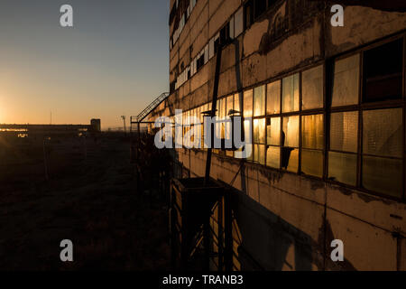 Landscape view from an abandoned soviet era glass factory in Gyumri. Armenia - Stock Photo