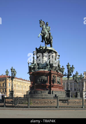 Monument to Nicholas I at square of St. Isaac  in Saint Petersburg. Russia - Stock Photo