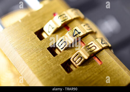 golden padlock macro image, security concept. - Stock Photo