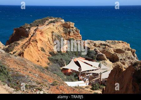 Portugal, Algarve, Carvoeiro, sea, cliffs, restaurant, - Stock Photo