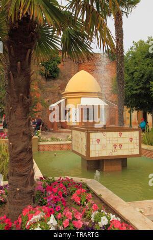 Portugal, Algarve, Silves, park, fountain, kiosk, - Stock Photo