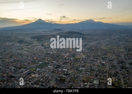 A view of Puebla, Mexico, at sunset, January 16, 2019. The state of Puebla is known for its high amounts of illegal gas theft. - Stock Photo