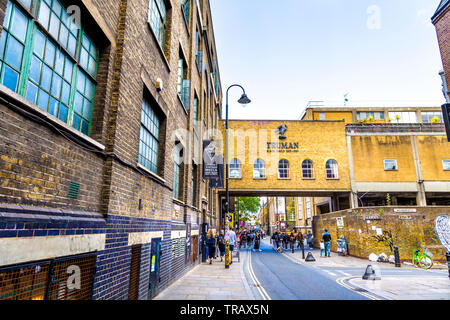 Exterior of the Old Truman Brewery and Brick Lane, London, UK - Stock Photo
