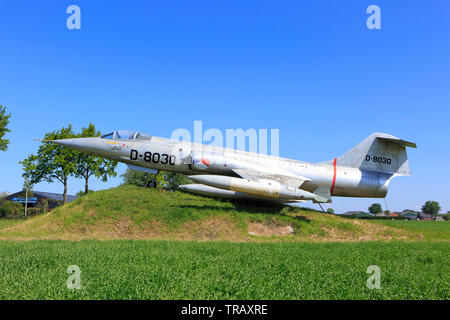 The D-8030 Royal Netherlands Air Force Lockheed F-104 Starfighter in Oosterland (Zeeland) Netherlands on a beautiful sunny day - Stock Photo