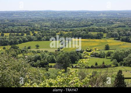 Bueatiful countryside seen from vantage point in Kent, England, United Kingdom - Stock Photo