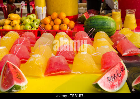 Different type of fruit juices selling in Ramadan Bazaar Kuala Lumpur. It is established for muslim to break fast during the holy month of Ramadan - Stock Photo