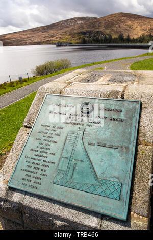 Northern Ireland, Co Down, Spelga Reservoir, Dam construction plaque - Stock Photo