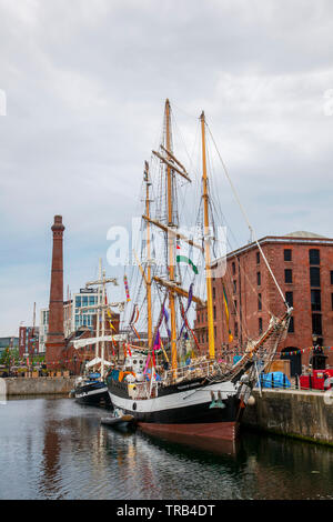 Liverpool,UK. 2nd June, 2019 UK Weather: Wet, rainy conditions on the tall ships moored in Canning Dock as exhibits for the river festival.  Pelican of London is a sail training ship based in the United Kingdom. Built in 1948 as Pelican she served as an Arctic trawler and then a coastal trading vessel named Kadett until 1995. Credit: MediaWorldImages/AlamyLiveNews - Stock Photo