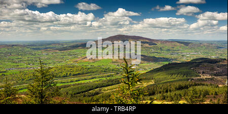 Ireland, Co Louth, Cooley Peninsula, Black Mountain, panoramic view from summit towards Slieve Gullion - Stock Photo