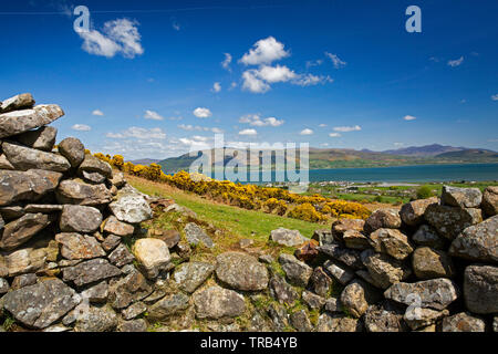 Ireland, Co Louth, Cooley Peninsula, Rooskey, elevated view across Carlingford Lough to Mourne Mountains from abandoned pre-famine village - Stock Photo