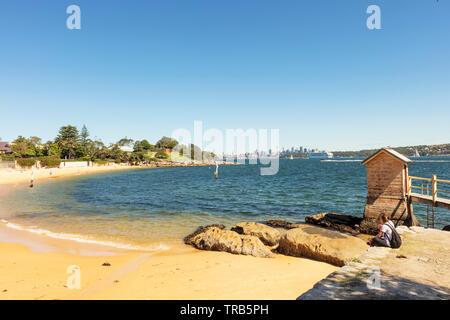 Pristine Camp Cove beach in Watson's Bay near Sydney, Australia. - Stock Photo