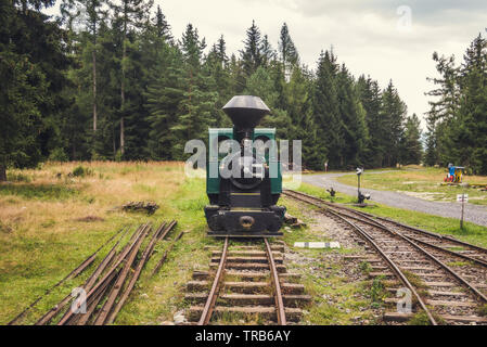 Beautiful Old Steam Locomotive in the Forest Front View - Stock Photo