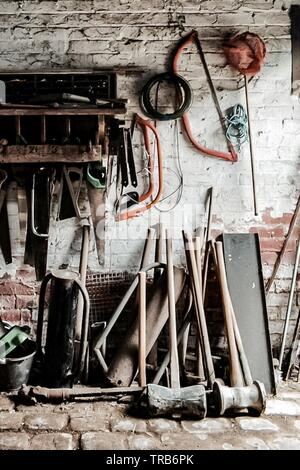 Old tools in the workshop - Stock Photo