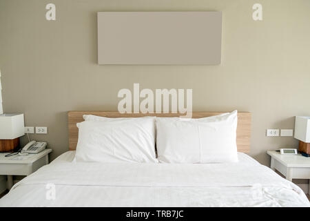 White bedroom on wood and object decoration - Stock Photo