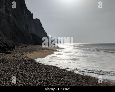 Fossil hunting on Charmouth beach looking towards Golden cap. - Stock Photo