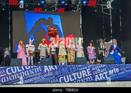 Dnipro, Ukraine - September 29, 2018: Congratulatory performance of artists Dnipro Academic Youth Theater in honor of 100th anniversary of Dnipro Acad - Stock Photo