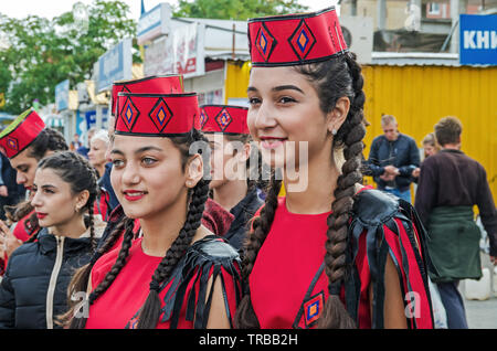 Dnipro, Ukraine - September 29, 2018: Armenian diaspora in celebration in honor of 100th anniversary of Dnipro Academic Music and Drama Theater named - Stock Photo