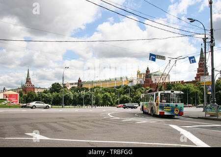 View of Kremlin in Moscow, Russian Federation from intersection of Lebyazhiy Pereulok - Stock Photo