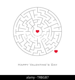 Valentine's day background with heart shaped in maze and labyrinth style, vector, flyer, invitation, posters, brochure, banners. - Stock Photo