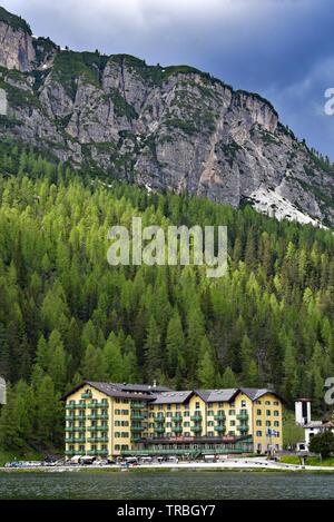 Grand Hotel Misurina beside Lago di Misurina in the beautiful Dolomites, the largest natural lake in the Cadore region, Dolomites, Veneto, Italy.