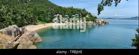 Panoramic view wide image picturesque paradisical place with tranquil blue turquoise color bay, stones sandy beach, no people on the Lamai beach