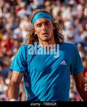 Paris, France, 2 june, 2019, Tennis, French Open, Roland Garros, Stefanos Tsitsipas (GRE) in his match against Wawrinka (SUI) Photo: Henk Koster/tennisimages.com - Stock Photo