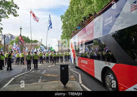 Westminster,  London, UK - 2nd June 2019 The al-Quds Day rally in Westminster, pro Palestine supporters were met by Pro Israel counter protesters during their march in London Today.   Credit: Thomas Bowles/Alamy Live News - Stock Photo