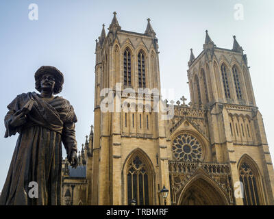 Statue of Rajah Rammohun Roy in front of Bristol Cathedral, Gloucestershire, England, UK. - Stock Photo