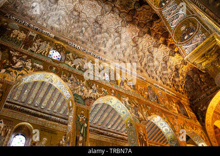 Interior of the Palatine Chapel , in the Royal Palace, Palermo , Sicily, Italy - Stock Photo