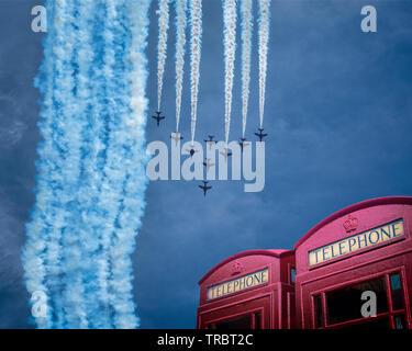GB - DEVON: RAF Red Arrows Display Team at Torbay Airshow - Stock Photo