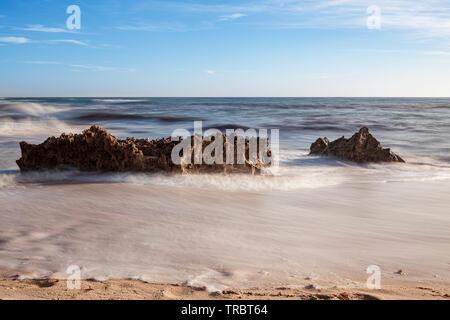 Rocks on the beach of Pessegueiro Island in Porto Covo, on the Costa Vicentina in the Alentejo, Portugal, Europa. - Stock Photo