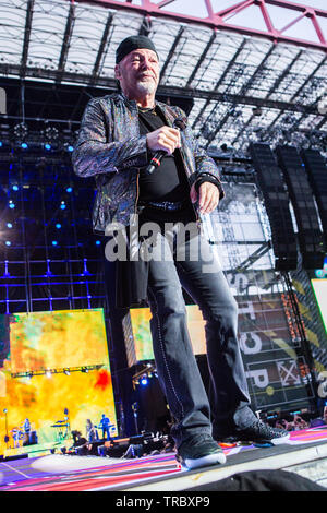 Milan Italy. 02 June 2019. The Italian rock singer/songwriter VASCO ROSSI performs live on stage at Stadio San Siro during the 'Vasco Non Stop Live 2019 Tour' - Stock Photo